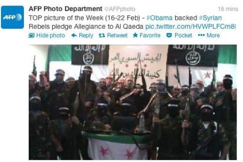 """Une image diffusée sur le compte piraté de l'AFP sur Twitter : """"Les rebelles syriens soutenus par Obama prête allégeance à el-Qaëda""""."""