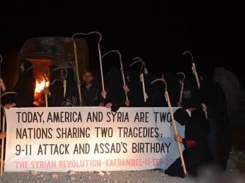 « Aujourd'hui, l'Amérique et la Syrie sont deux nations qui vivent deux tragédies : les attaques du 11-Septembre et l'anniversaire de Bachar el-Assad. »