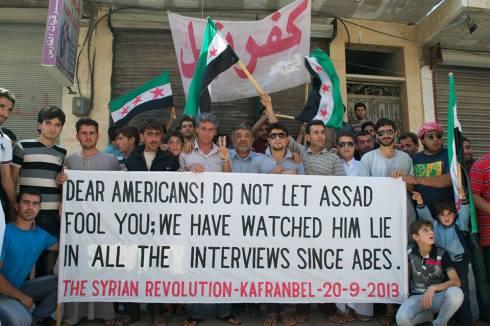 « Chers Américains, ne laissez pas Assad vous tromper ; nous avons écouté ses mensonges dans toutes ses entrevues durant des années! »